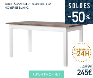 Bon plan table à manger 160 cm noyer