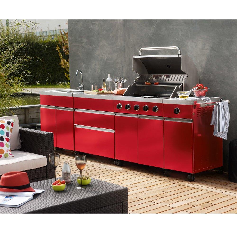 Cuisine d'exterieur street garden rouge | Maison et Styles