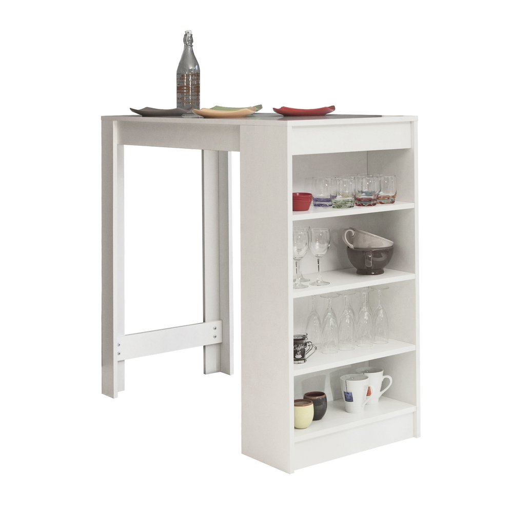 Table - Table de bar avec rangements blanc - TAYLOR photo 1