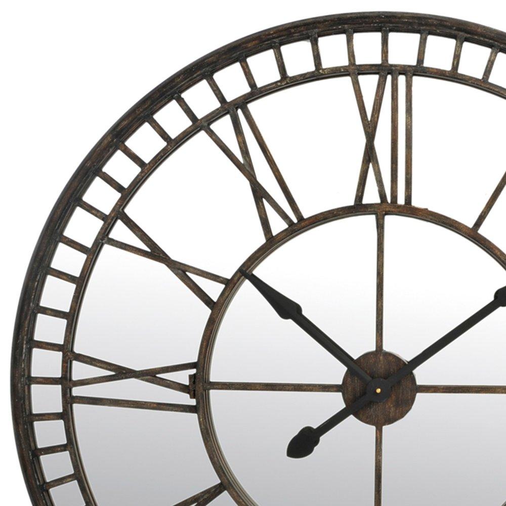 Grosse Horloge Fer Forgé horloge ronde miroir chiffres romains en fer forgé 107cm