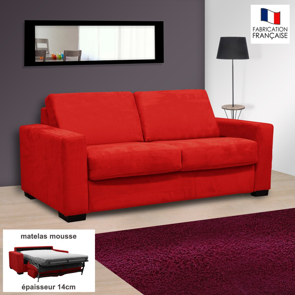 Canapé - Canapé 2 places convertible 14cm en microfibre rouge - LOUISA photo 1