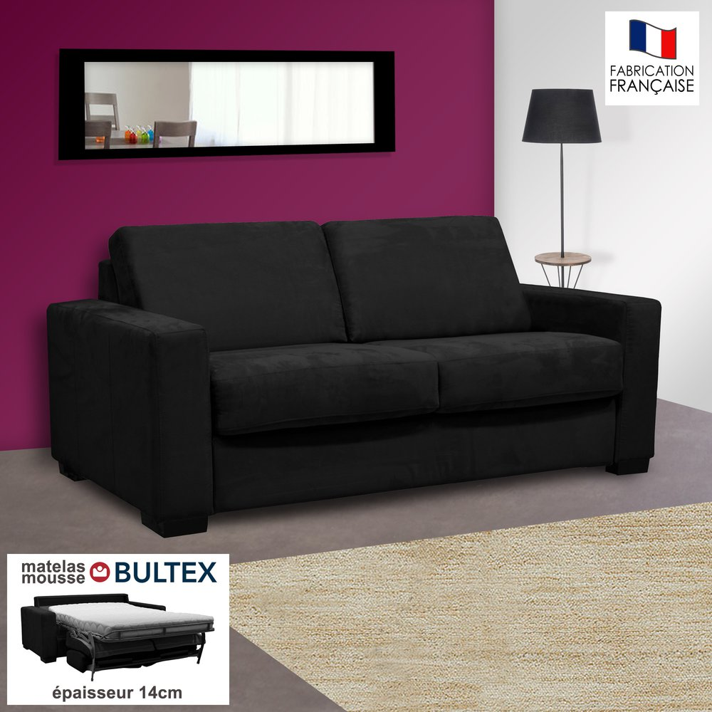 Canapé - Canapé 2 places convertible bultex microfibre noir - LOUISA photo 1