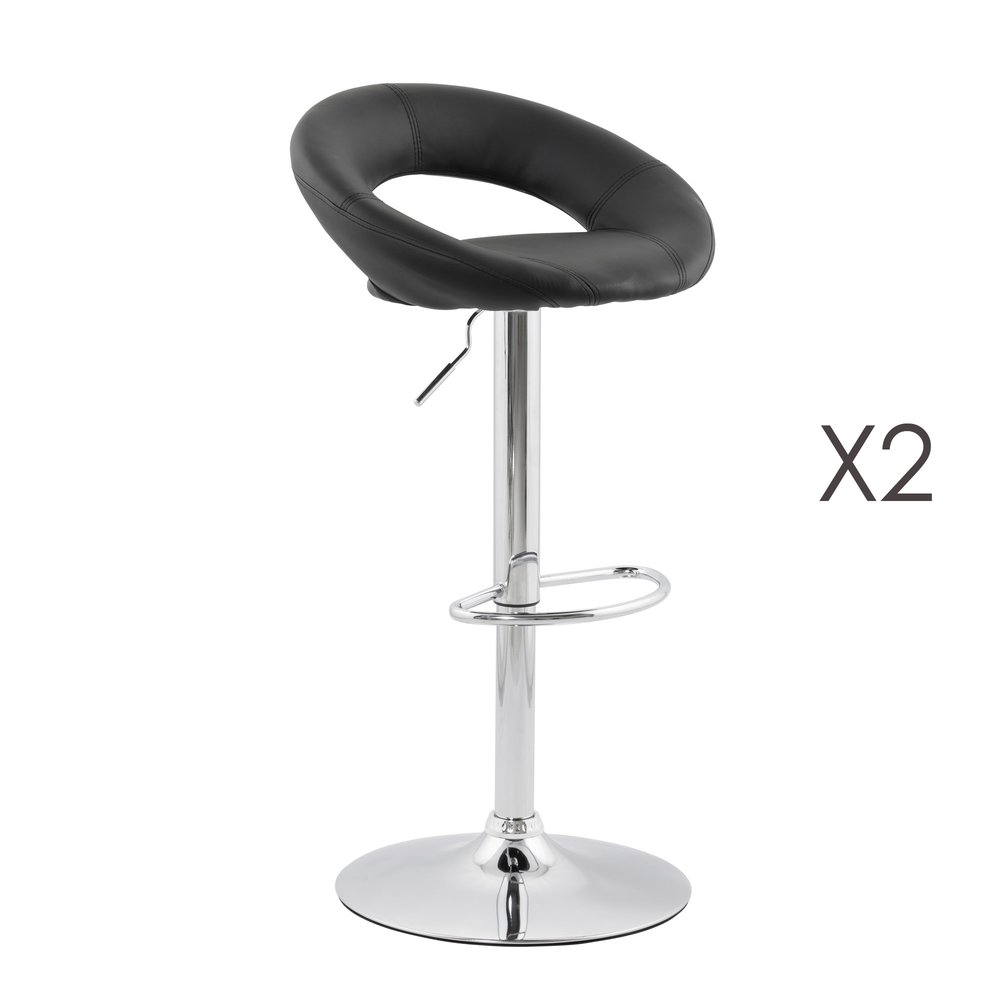 Tabouret de bar - Lot de 2 tabourets de bar design 50x54x100cm noir - ATLANTA photo 1