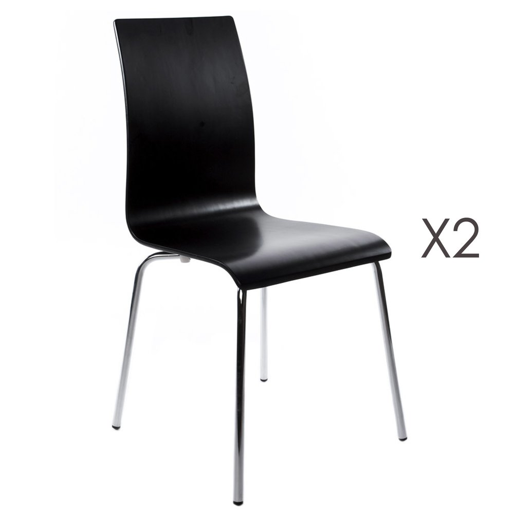 Chaise - Lot de 2 chaises design 41x48x88cm CLASSICO - noir photo 1