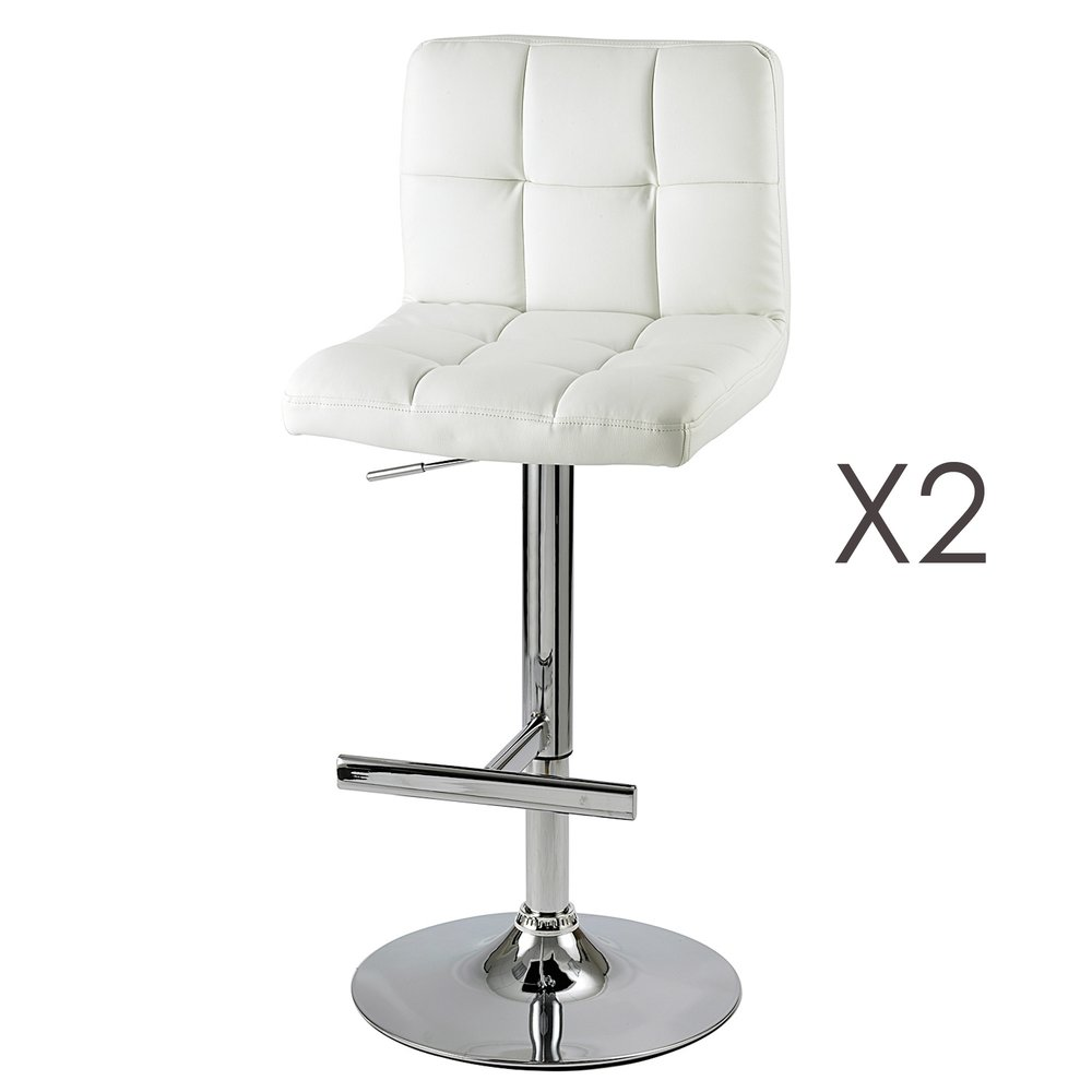 Tabouret de bar - Lot de 2 chaises de bar coloris blanc - JOAHAN photo 1