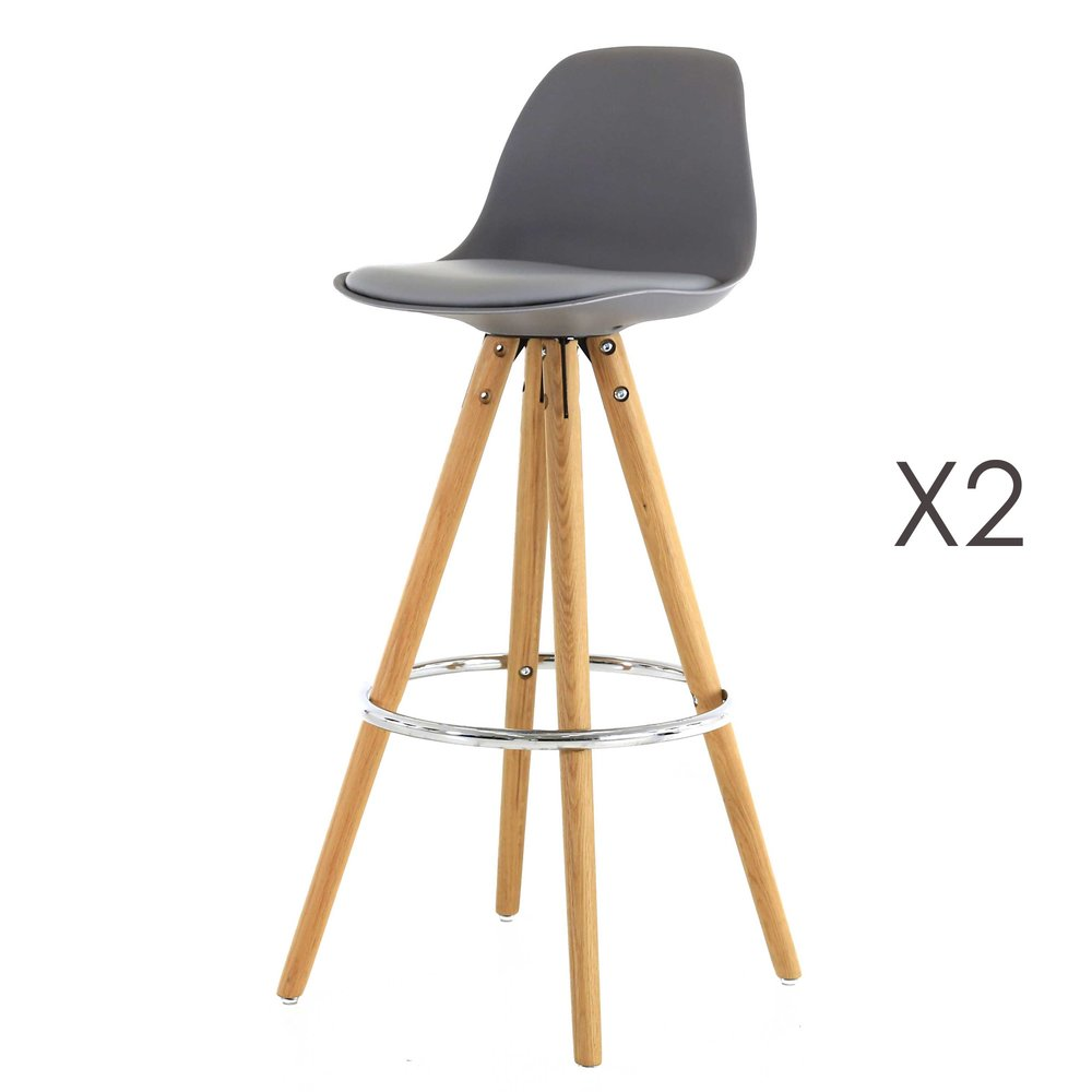 Tabouret de bar - Lot de 2 chaises de bar coloris gris - CIRCOS photo 1
