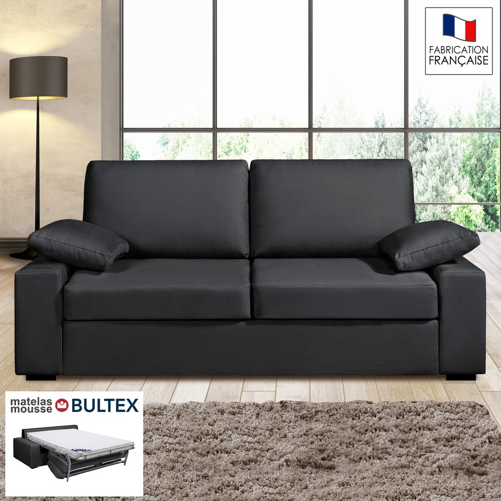 Canapé - Canapé 3 places convertible matelas Bultex - 100% coton anthracite - PLUTON photo 1