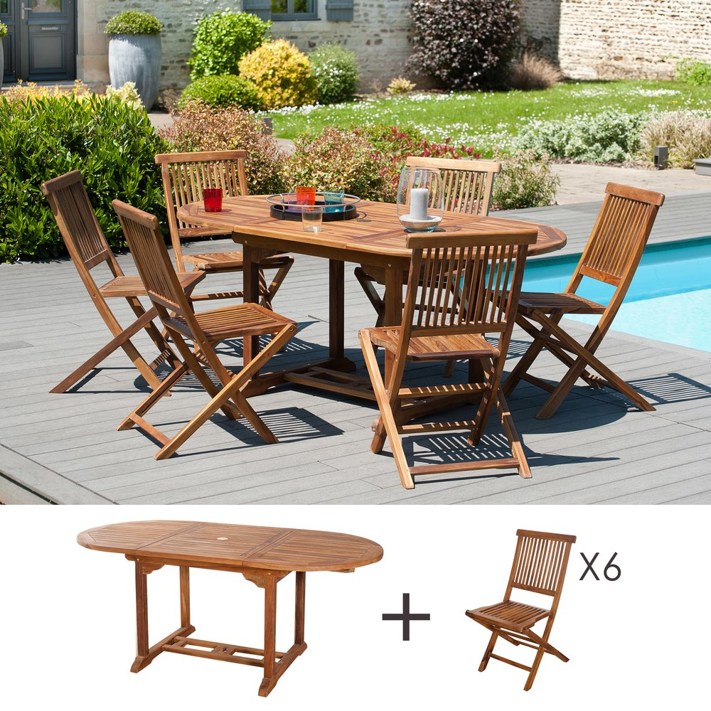 Meuble de jardin - Ensemble  1 table ovale 120*180/90 cm + 3 lots de 2 chaises photo 1