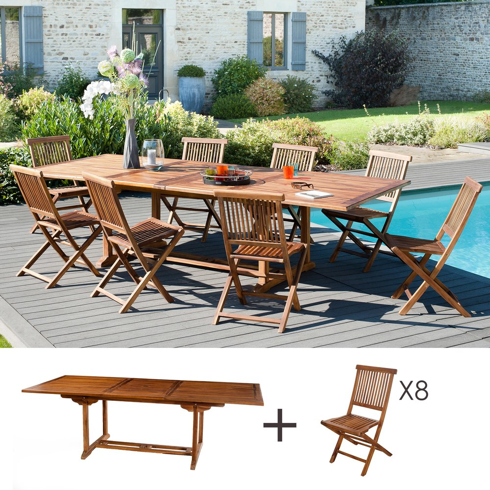 Meuble de jardin - Ensemble 1 table rectangulaire 200*300/120 cm + 4 lots de 2 chaises photo 1