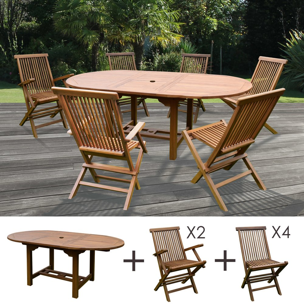 Plein air - jardin - Table de jardin 160/210x100x75cm + lot de 4 chaises + 2 fauteuils photo 1