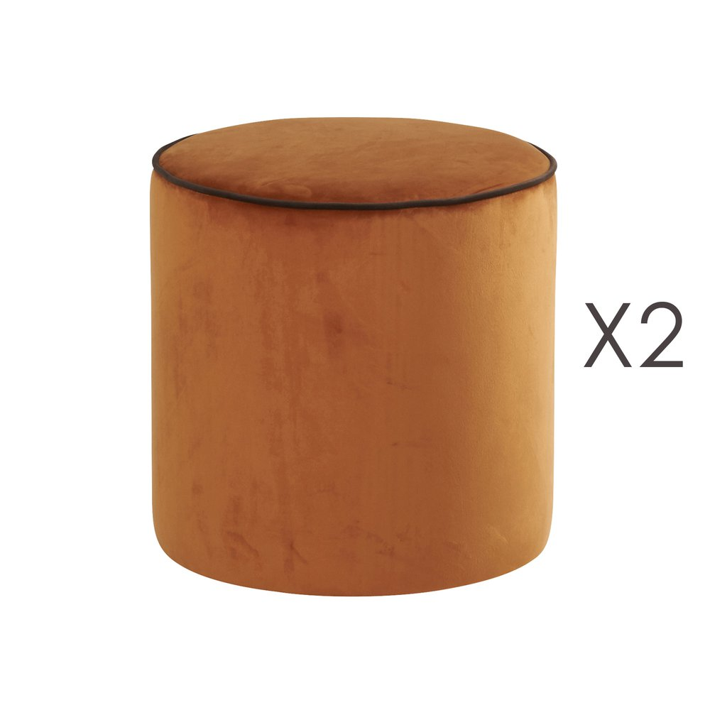 Pouf - Lot de 2 poufs Countra Orange Brûlé/Chocolat Diam40xH40cm photo 1