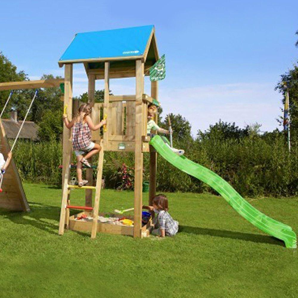 aire de jeux en bois avec toboggan escalade et
