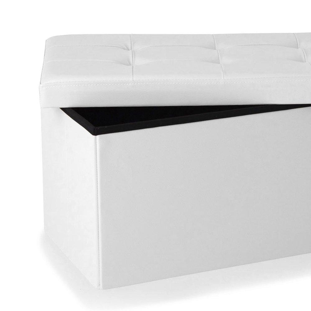 Pouf PVC de rangement avec couvercle blanc | Maison et Styles