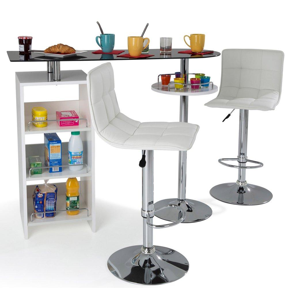 Table bar avec rangement blanc | Maison et Styles
