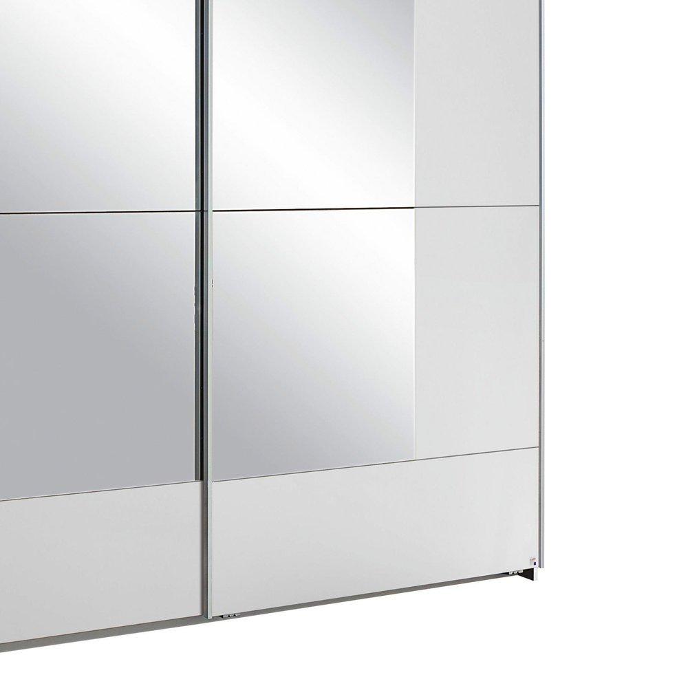 Armoire 2 Portes Avec Miroir 228x210x59cm Blanc Maison Et Styles