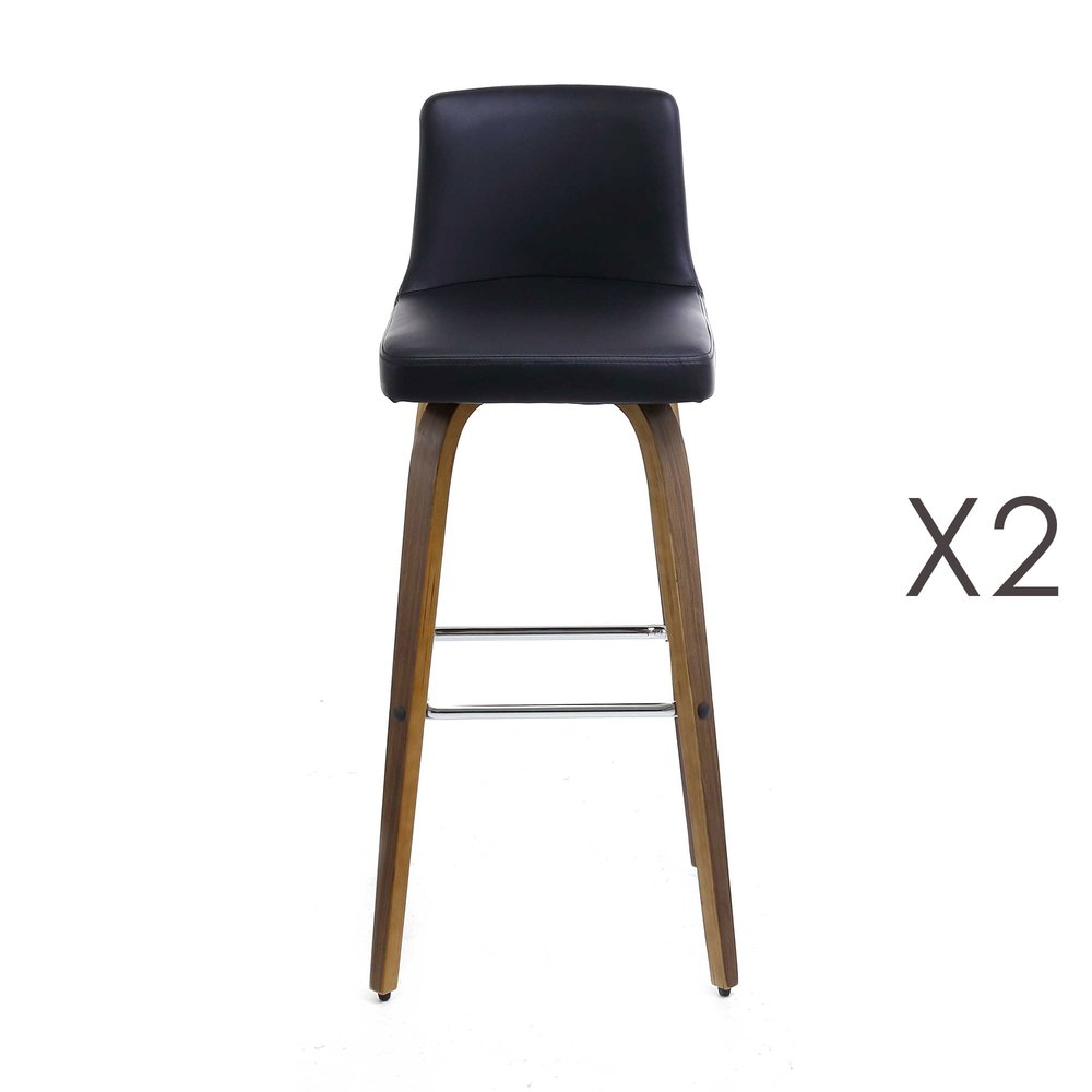 Tabouret de bar - Lot de 2 tabourets de bar en tissu noir photo 1