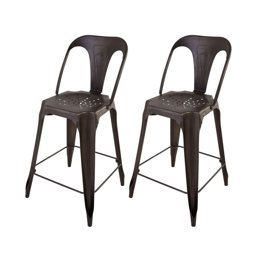 Tabouret de bar - Lot de 2 Chaises de bar métal vieilli assise 65cm - TALY photo 1