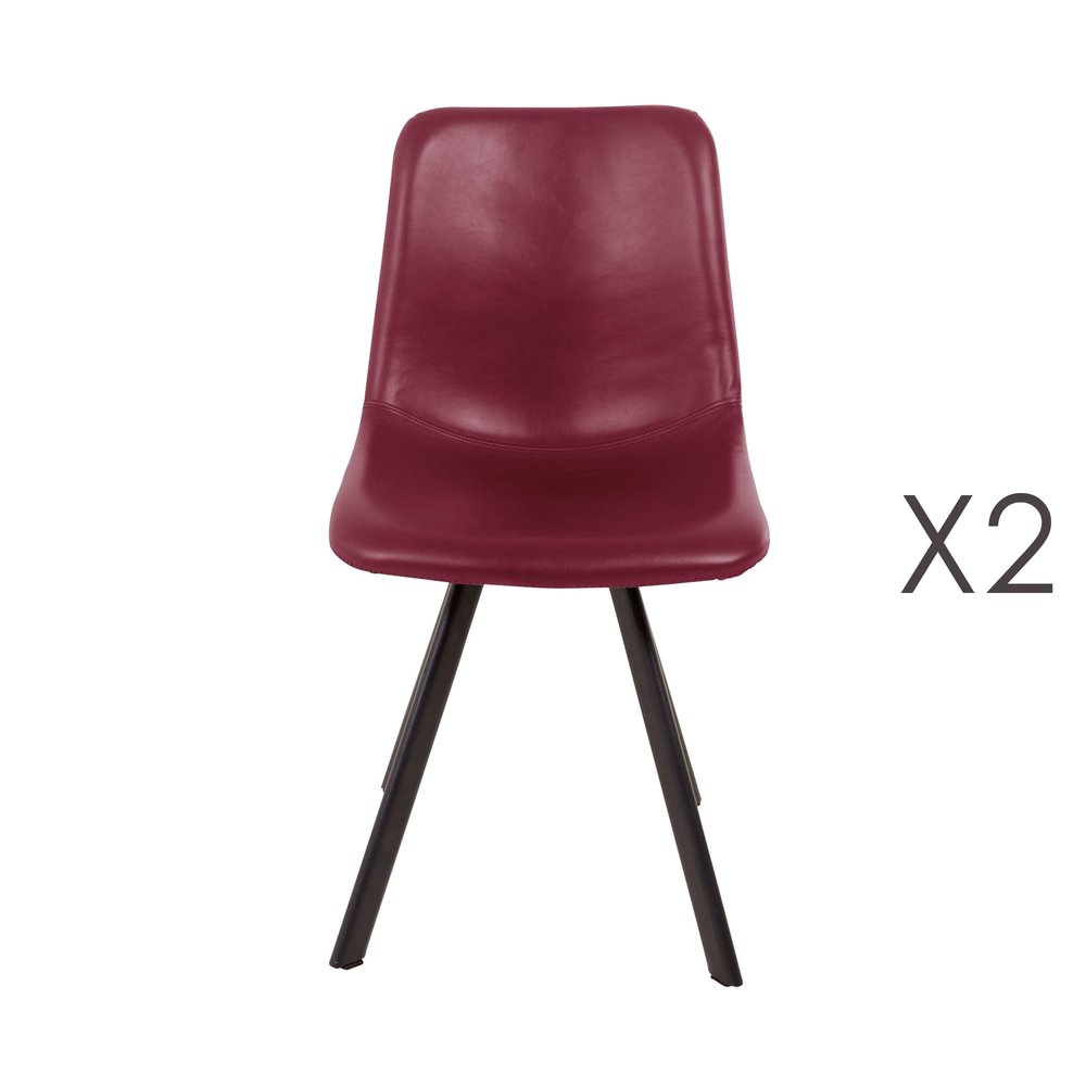 Chaise - Lot de 2 chaises repas en PU rouge - MARGOT photo 1