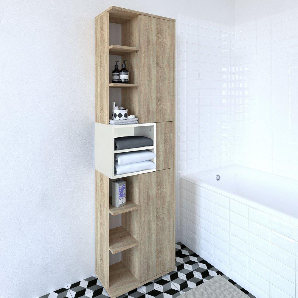 colonne salle de bain 3 portes naturel aude maison et styles
