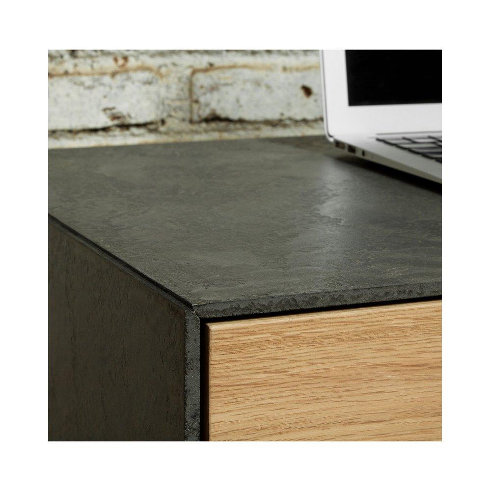 Meuble En Béton Ciré meuble tv 1 tiroir et 1 porte effet béton ciré et chêne
