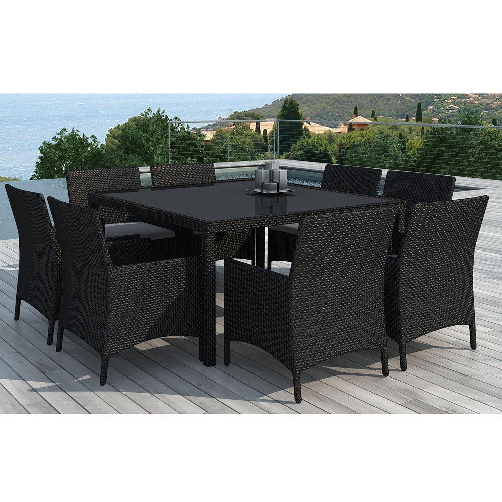 table de jardin  8 fauteuils en résine tréssée noire