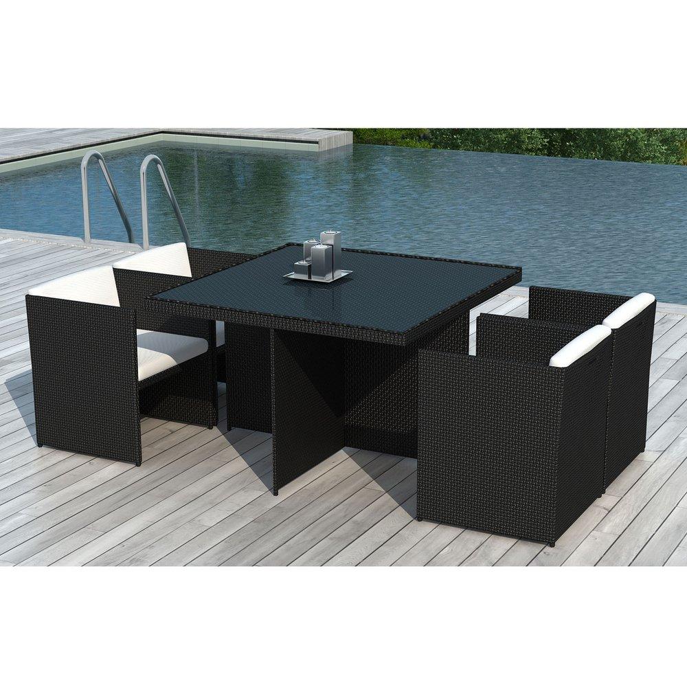 Table de jardin + 4 fauteuils encastrables en résine tréssée ...