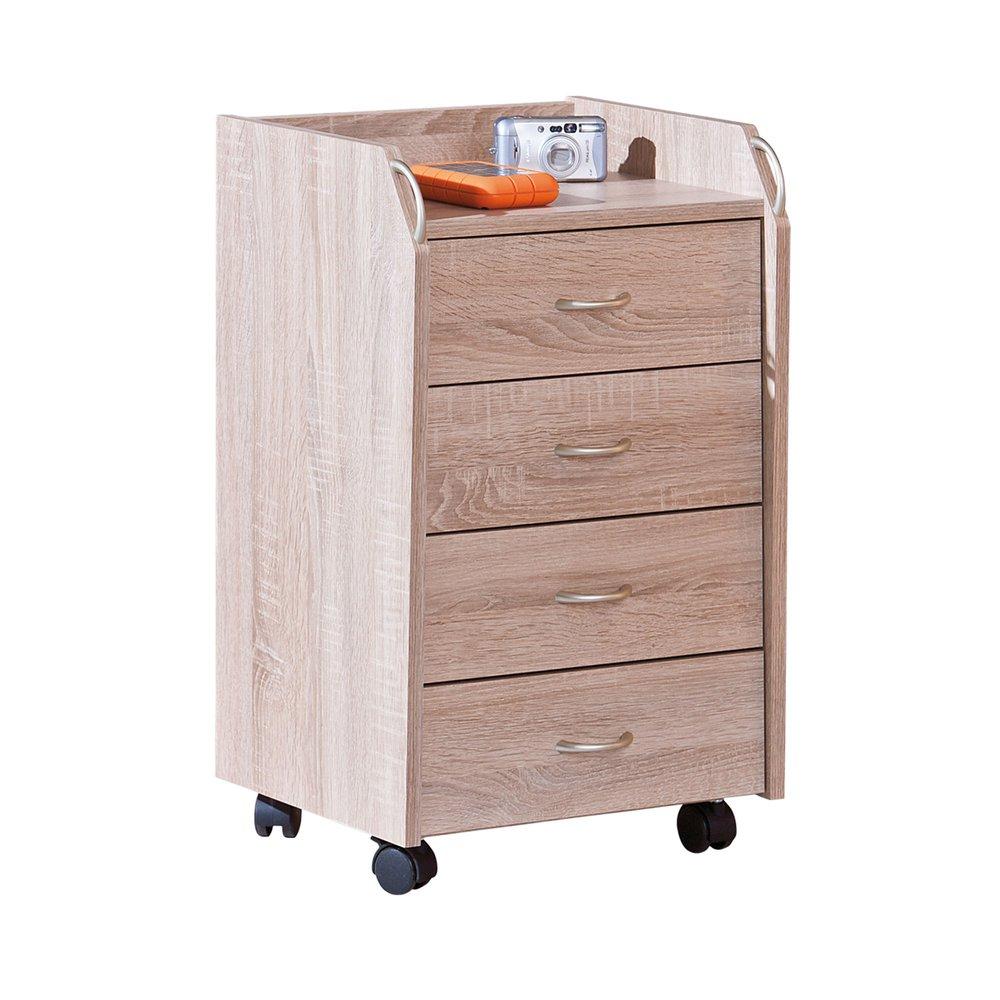 Meuble de rangement 4 tiroirs avec roulettes naturel - PROCESS   Maison et Styles