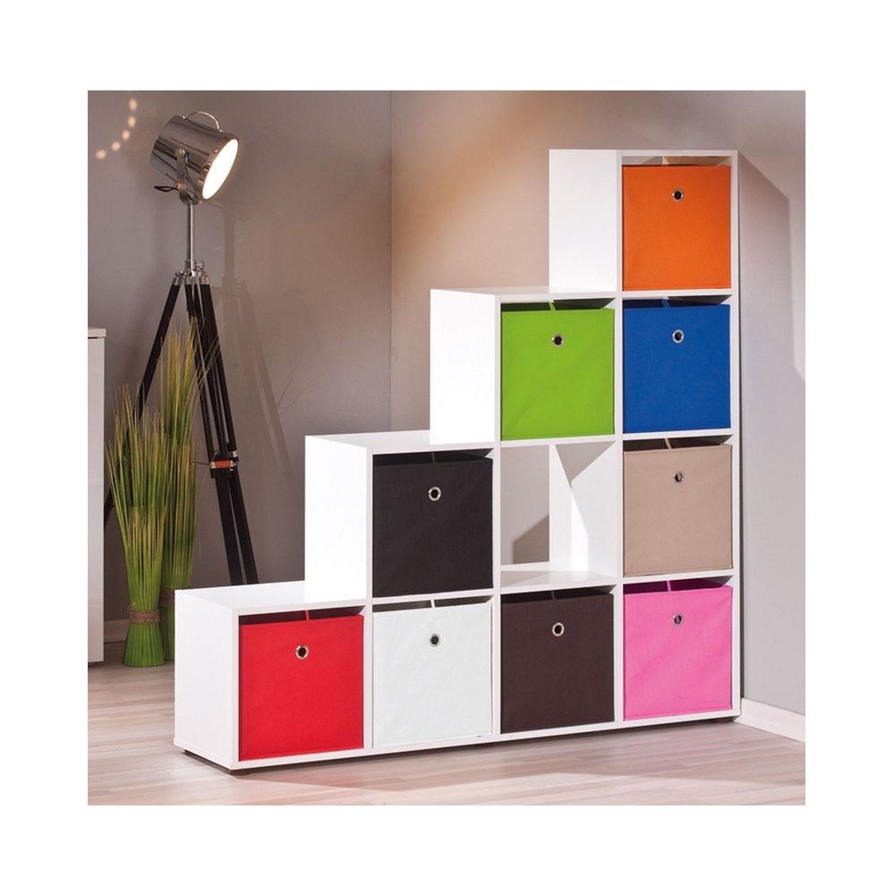 Meuble de rangement escalier 10 compartiments blanc - ARCOS   Maison et Styles