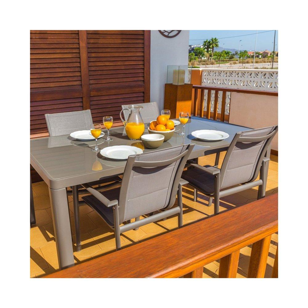 Table de jardin 180x90x75 cm en verre trempé et aluminium ...