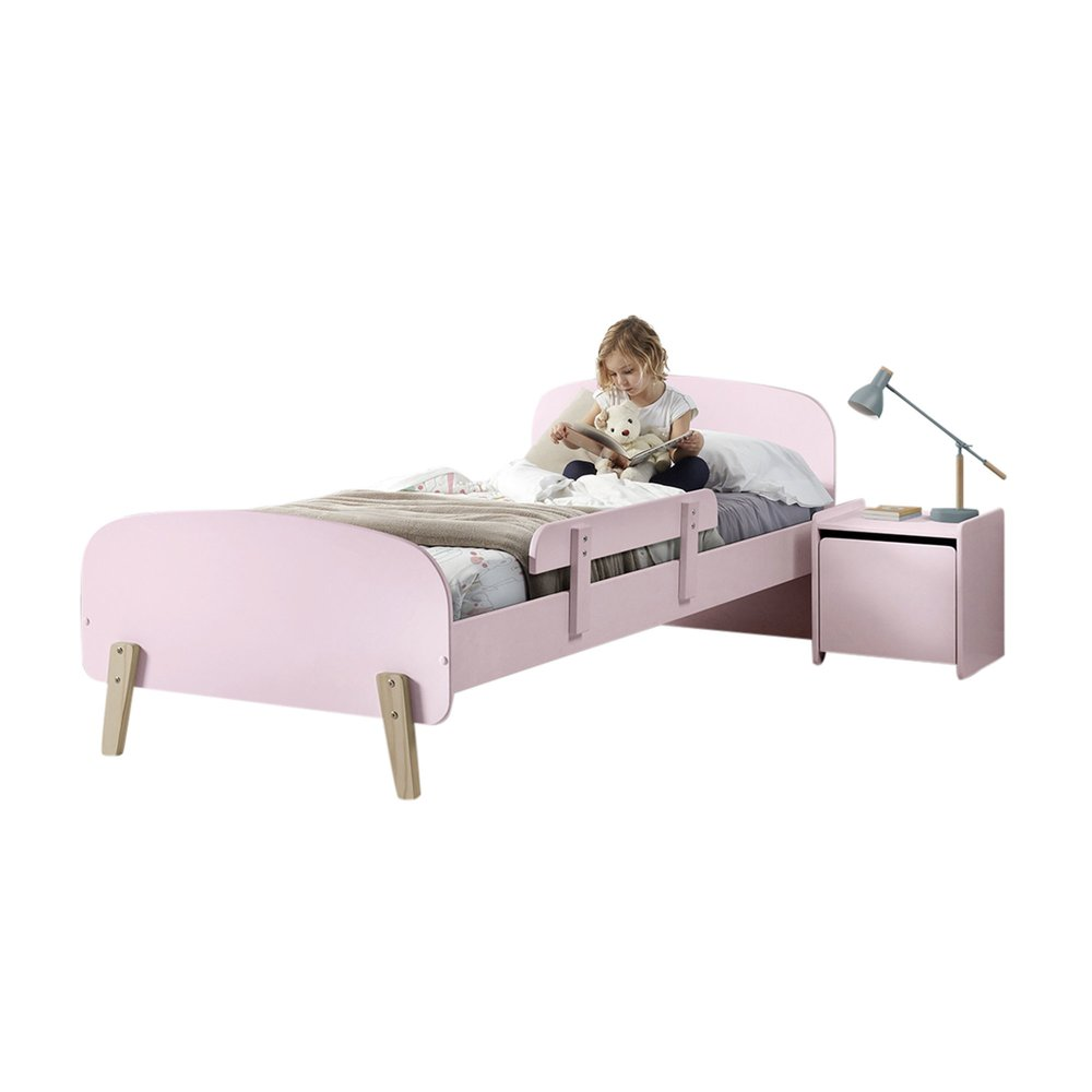 Lit enfant - Lit 90x200 cm + barrière de lit + chevet en pin rose - KIDLY photo 1