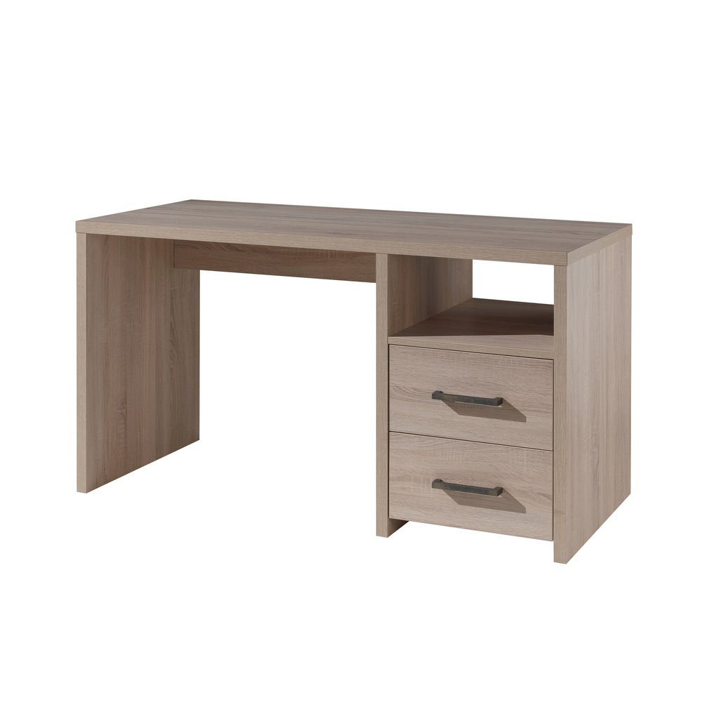Bureau - Bureau 2 tiroirs 140x66,5x77 cm naturel - LORRIS photo 1