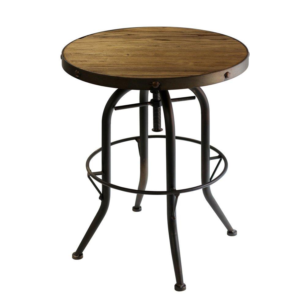 Table basse ronde 50 cm en bois et m tal noir atelier Table basse ronde bois et metal