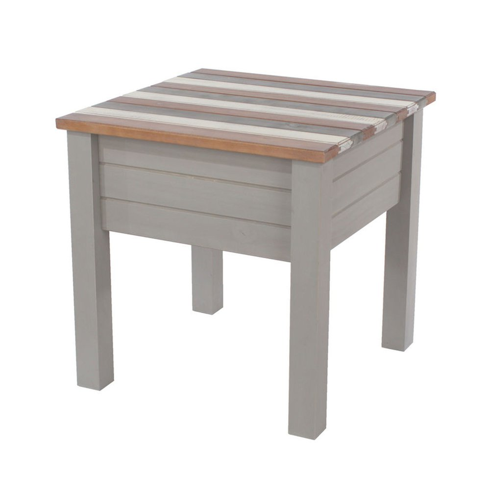 Chevet - Table de chevet 54x54x55 cm gris blanc et naturel - SERGO photo 1