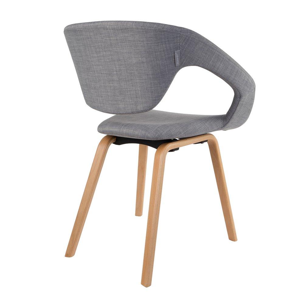 de 2 Lot design pieds naturel et chaises en tissu gris rdCxshBtQo