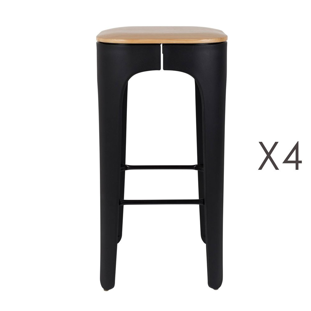 Tabouret de bar - Lot de 4 tabourets de bar H73 cm assise naturel et pieds noir photo 1