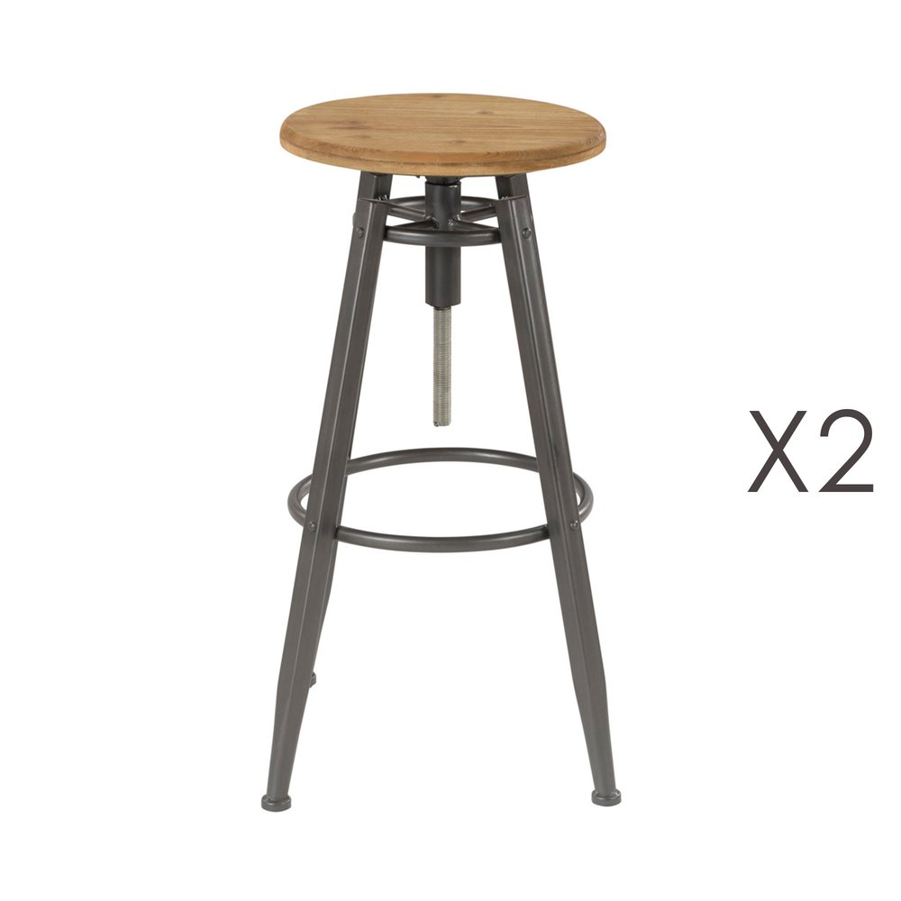 Tabouret de bar - Lot de 2 tabourets de bar 36x36x71 cm en pin et métal - MAIKO photo 1