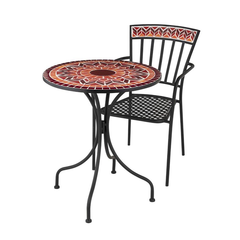 Ensemble table + 2 chaises en verre et métal rouge - DYNO ...