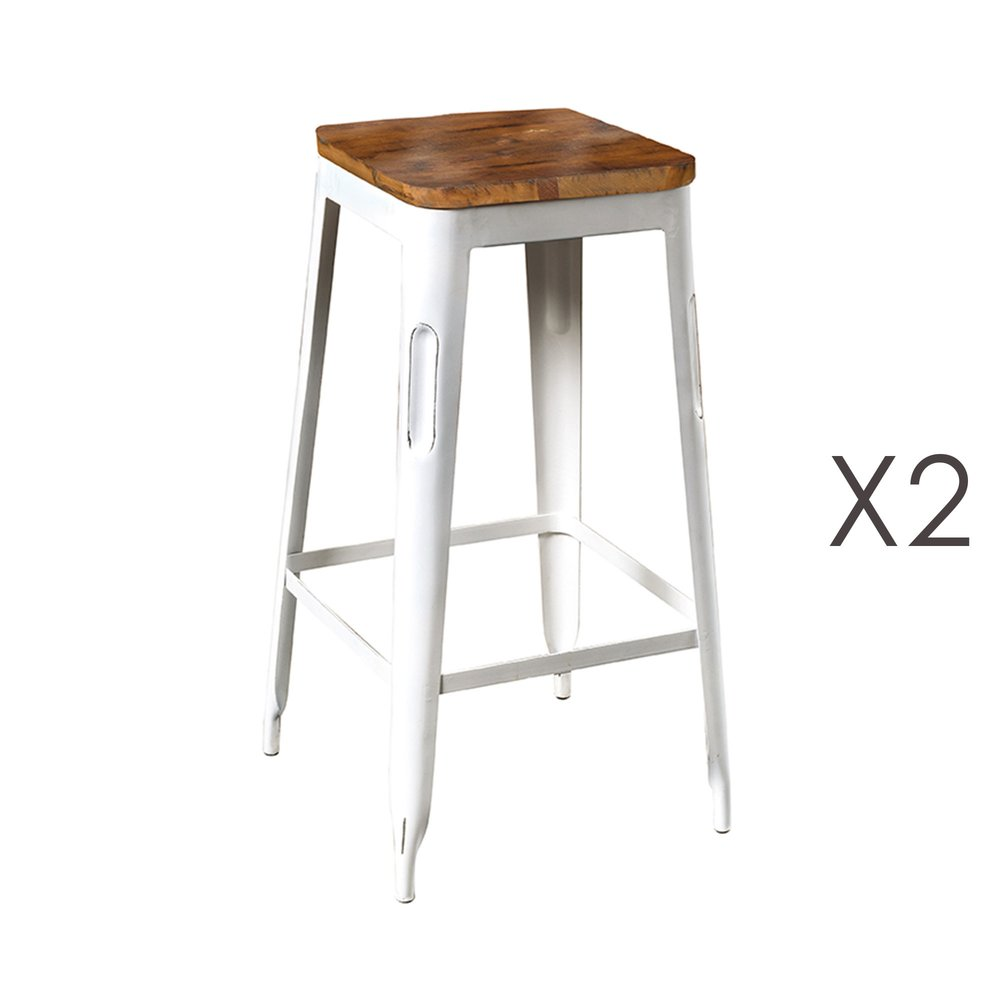 Tabouret de bar - Lot de 2 tabourets de bar en bois recyclé et métal blanc - ARTY photo 1