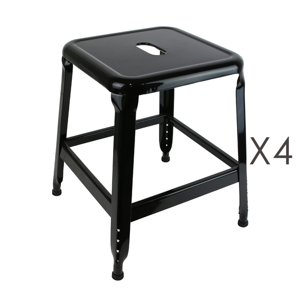 Tabouret - Lot de 4 tabourets en métal noir - KANSAS photo 1