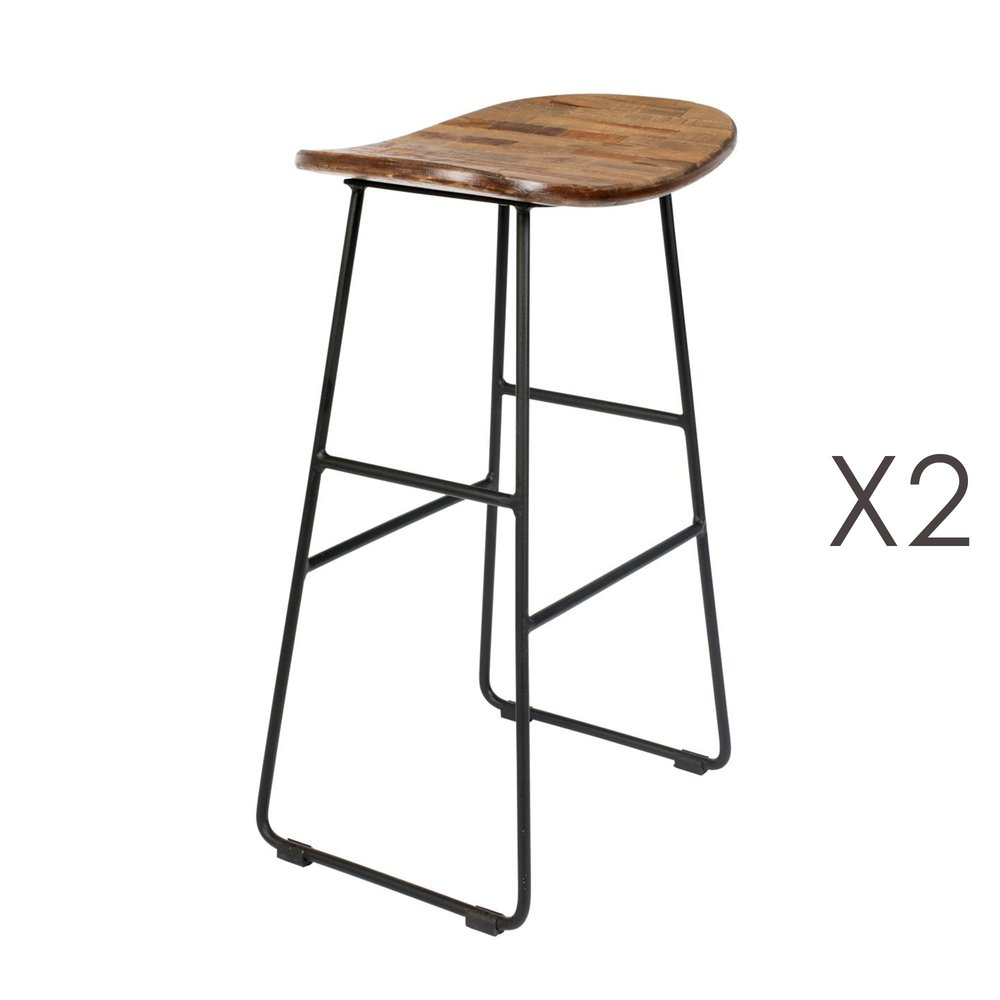 Tabouret de bar - Lot de 2 tabourets de bar en teck naturel et acier - STOOL photo 1