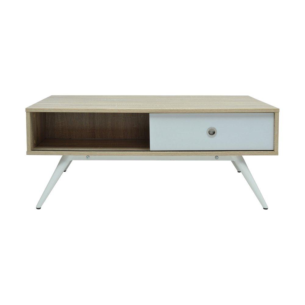 chêne décor basse cm Table blanc 100x60x41 et sonoma N8ym0nvwO
