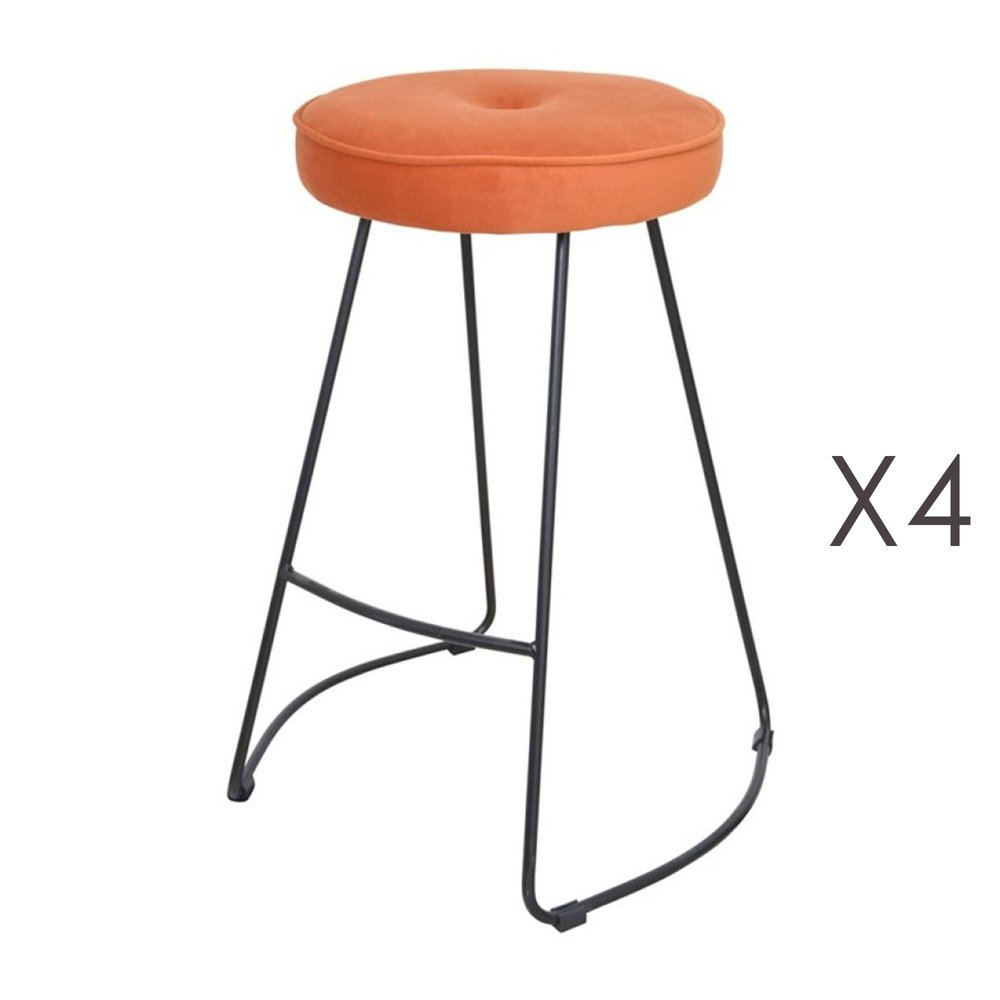 Tabouret de bar - Lot de 4 tabourets de bar 45x50x68 cm en velours rouille - TROGEN photo 1