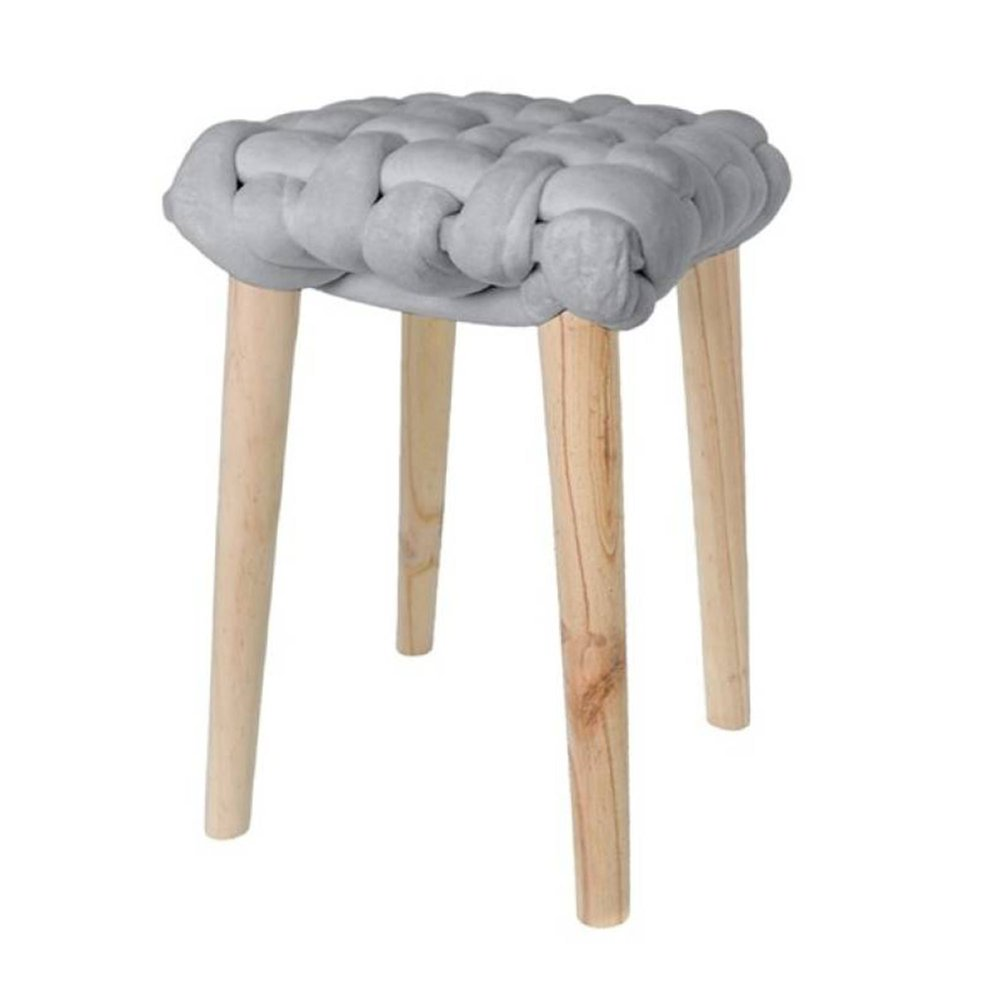 Tabouret - Tabouret 32x32x43 cm en noeud velours gris - BRAIDY photo 1