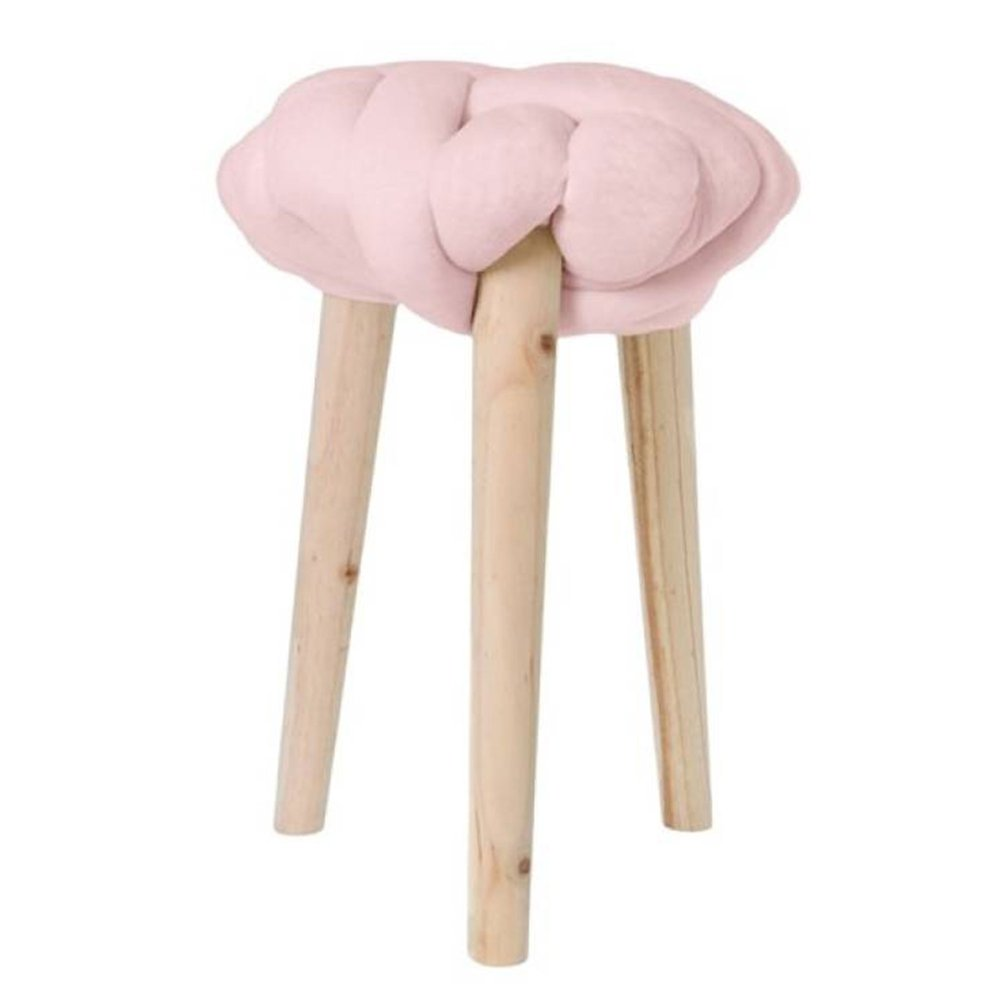 Tabouret - Tabouret 30x30x44 cm en noeud velours rose - BRAIDY photo 1