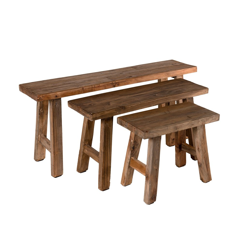 Banquette - Lot de 3 bancs 118/85/52 cm en bois exotique - ALMON photo 1