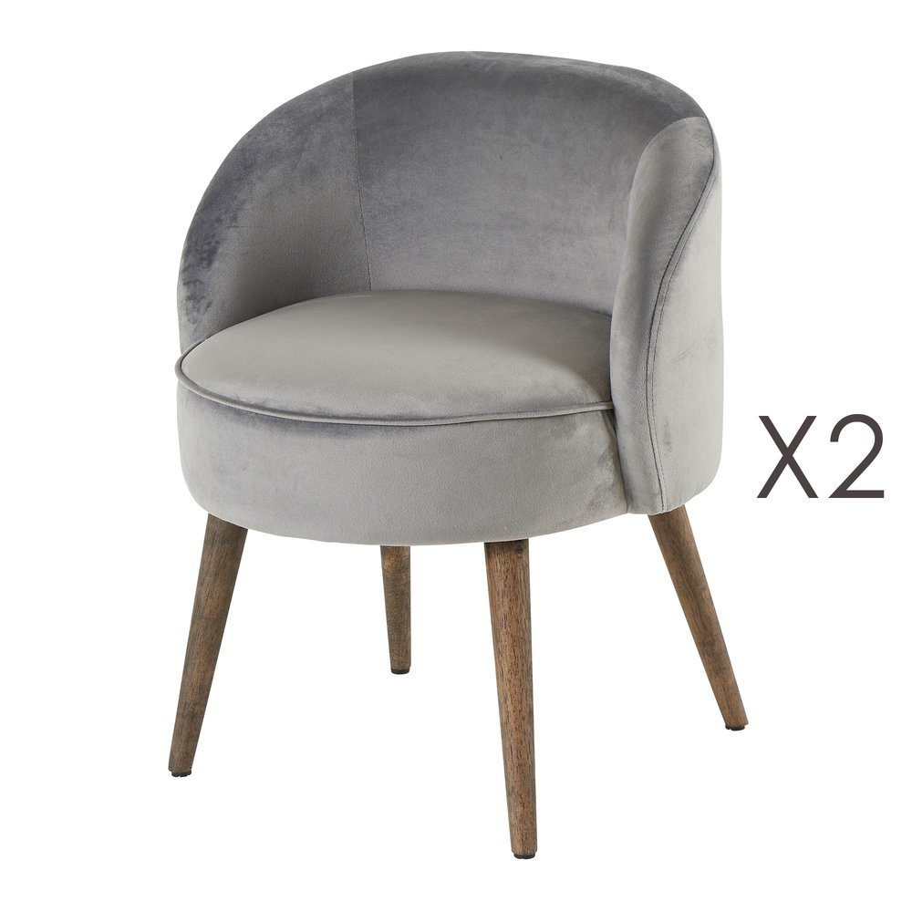 Fauteuil - Lot de 2 fauteuils 54x54x64 cm en velours gris - HONY photo 1