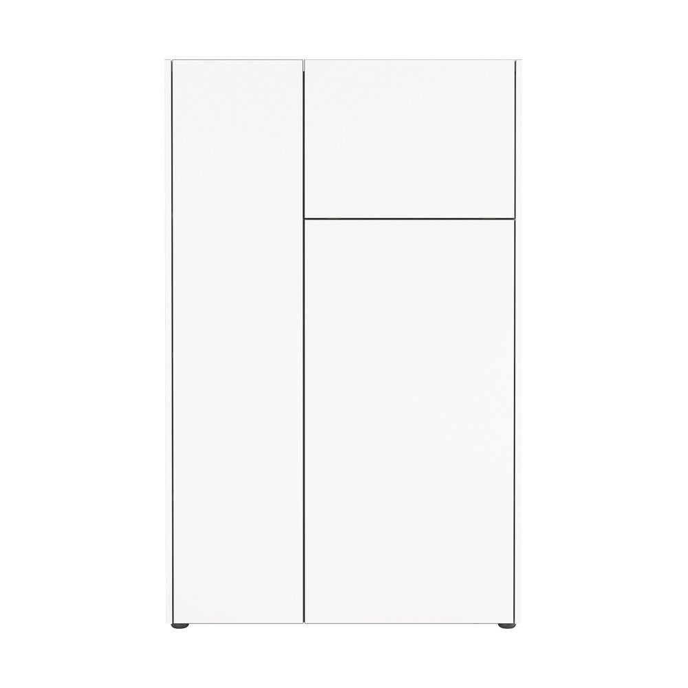 Buffet - vaisselier - Buffet haut 3 portes 88x42x141 cm blanc et gris - VELLY photo 1