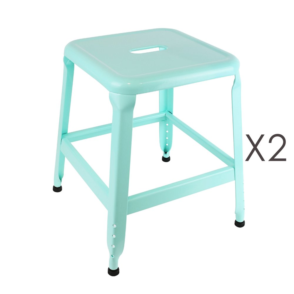 Tabouret - Lot de 4 tabourets en métal turquoise - KANSAS photo 1