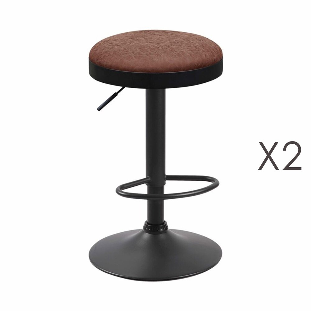 Tabouret - Lot de 2 tabourets en PU marron - ZARAY photo 1