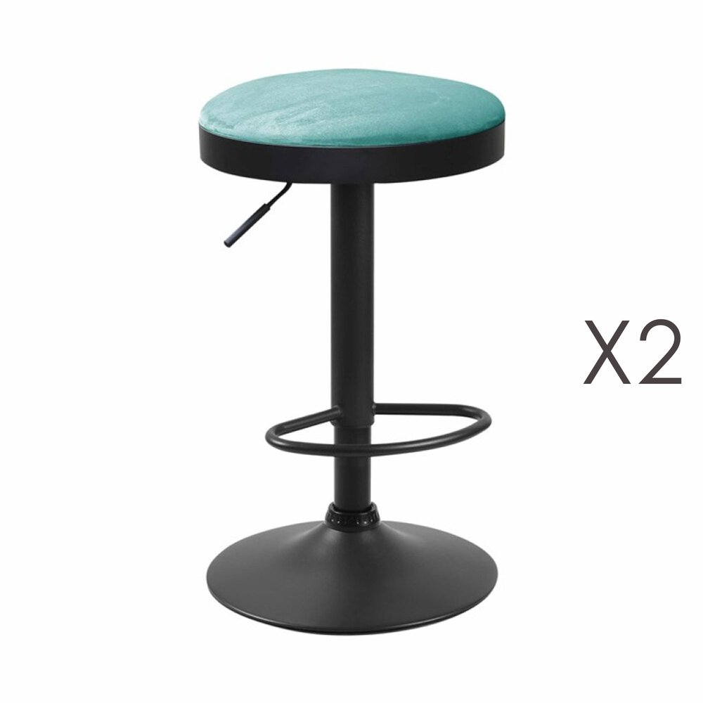 Tabouret - Lot de 2 tabourets en tissu suédine bleu - ZARAY photo 1
